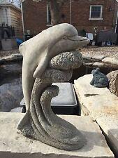 Dolphin Riding Wave Splash GRAY CEMENT STATUE Lawn Ornament Decoration Concrete