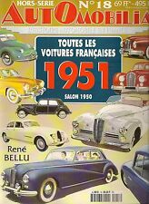 AUTOMOBILIA HS 18 TOUTES LES VOITURES FRANCAISES 1951 (SALON 1950)