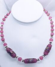 """Exquisite Vintage Hand Knotted Pink Gold Blue Lampwork 17"""" Necklace Delicate"""