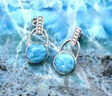 Larimar 10mm and White Sapphire Accents Earrings .925 Sterling Silver