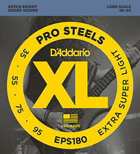 D'Addario EPS180 ProSteels Bass Guitar Strings, Extra Super Light, 35-95, Long S
