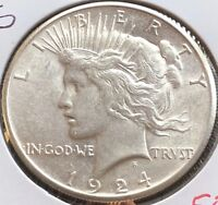 USA 1924 S Peace Dollar Silber San Francisco Top Erhaltung AU #12090