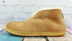 LL BEAN Men's Brown Suede Shearling Lined Wicked Good Booties Slipper Size 11