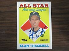 1988 Topps # 389 Alan Trammell Autographed / Signed Card (C) Detroit Tigers