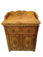 """Custom Rustic Carved Wood Bathroom Vanity 30"""" wide"""
