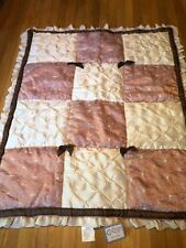 CoCaLo White Pink Brown Ruffle Bow Quilted Fancy Girls Baby Bed Set 9 Pc New