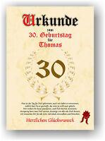 Urkunde zum 30. Geburtstag Geschenkidee Geburtstagsurkunde Namensdruck Deko Bild