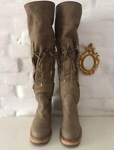 LORO PIANA Women's Overknee Boots Beige Fur Suede Size 38(US8) Made In Italy!