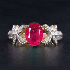 1.45 Carat 14KT Solid Yellow Gold Natural Red Ruby EGL Certified Diamond Ring