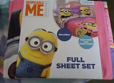 NEW GIRL'S FULL SIZE DESPICABLE ME FULL SIZE BEDROOM SET MICROFIBER 4 PIECE