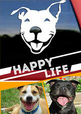 SMILING Happy STAFFY Happy Dog Decal, Vinyl Drift Decal Car Window Sticker White