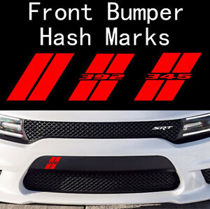 3PC Dodge Charger Hash Marks Front Bumper Decal Hellcat Daytona Scat Challenger