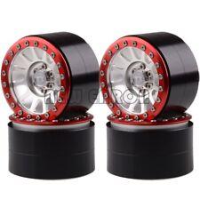 "SILVER-RED 4PCS Aluminum 2.2"" Beadlock Wheels For Axial Yeti/Wraith RC Crawler"