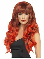 Smiffys Siren Wig -  Long and Curly with Fringe - Red & Black Halloween