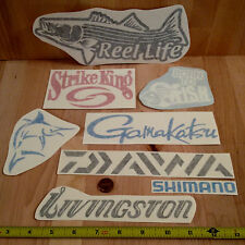 Fishing DECALS STICKER x8 vinyl lure reel rod hook tackle box tug canoe boat fly