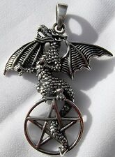 Sterling Silver (925) Dragon On Pentagram Pendant  (9.3 Grams)  !!      New  !!