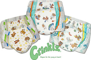 Crinklz Premium Tab-Style Overnight Briefs Printed Adult Diapers (S, M, L, XL)