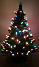 Ceramic Christmas Tree Green w/ Multi Color Lights 16� H 11� W Unmarked