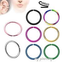 Surgical Steel Seamless Nose Hoop Ring Earring Labret Septum Tragus 20G 16G 14G