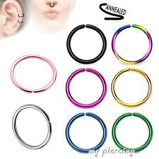 Surgical Steel Seamless Nose Hoop Ring Earring Labret Septum Tragus 20G 16G 14G