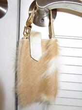 WOMENS BLOOMINGDALE'S TAN,WHITE PONY HAIR PHONE HOLDER W/GOLD LEATHER STRAP