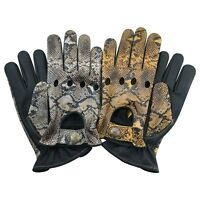 Prime Soft Cow Nappa Leather Driving Gloves Classic Style White Yellow Snake 502
