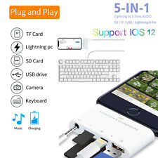 For iPhone XR XS iPad Lightning to Card Reader USB 2.0 Camera keyboard Headphone