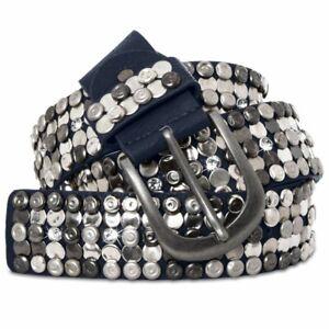 GU279 Womens Vintage Belt with Rhinestones and Studs Metal Buckle Leather Inside