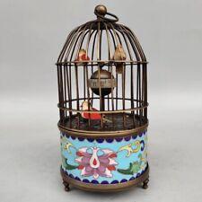 European Cloisonne Brass Handmade Birdcage Shape Mechanical Clock OSB19`C