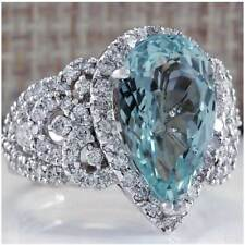 PEAR BLUE AQUAMARINE CZ_CLEAR CZ SWIRL DESIGN SIZE 6_925 SILVER / COCKTAIL