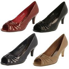 Ladies Spot on PEEP Toe Court Shoes The Style - F10047 UK 5 Burgundy