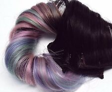 2x Pastel #1B Dip Dye Ombre Clip in Human Hair Extensions Pink Purple Mint Green