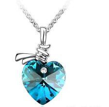 Blue Heart Necklace Swarovski Elements Crystal Love Gift Jewellery Wedding