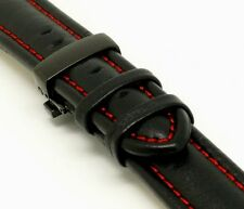 20mm Black/Red Leather Watch Strap Black Polished Finish Deployment Clasp