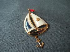 Vintage Avon sailing days enamel goldtone metal anchor dangle sailboat pin