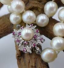 Elegante Perlen Halskette mit 750 Weißgold und Rubinen