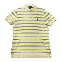 Polo Ralph Lauren PONY Golf Shirt Mens L CUSTOM FIT Yellow Striped Piqued Cotton