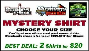 Mystery Shirt - Past Car Show Apparel - 2 Shirts. FREE USA Shipping! $50 Value