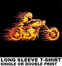 GHOST MOTORCYCLE HELL RIDER IN FLAMES V-TWIN BIKER T-SHIRT WS202