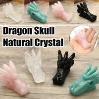 Natural Dragon Skull Hand Carved Crystal Animal Figurine Gemstone Reiki