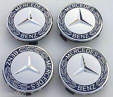 Mercedes Benz Alloy Wheel Centre Caps 75mm Dark Blue / Sliver Fits C, E Class
