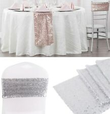 GLITTER SEQUIN CHAIR BANDS/ TABLE RUNNER EVENTS WEDDING DECOR CHRISTMAS DINNER