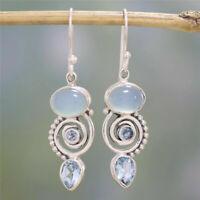Retro 925 Silver Earrings Sea Blue Vintage Topaz Dangle Drop Hook Women Jewelry