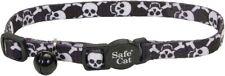 "Coastal Pet Black Pirate Skull Breakaway Cat Collar 8-12"" neck with bell safety"