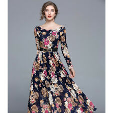 Women lady exclusive formal elegance lace dress round neck long sleeve maxi