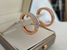 Yellow gold finish elegant huggie hoops created diamond earrings