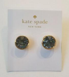 Kate Spade Black Diamond Gold Plated Bezel Stud Earrings, NEW
