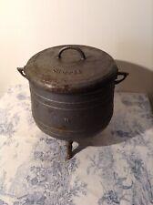 Vintage French Large Heavy Cast Iron Cauldron Pot & Lid - Garden Feature Planter