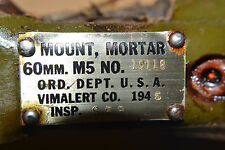 WW2 made us 60mm mortar frame, yoke traverse dated 1945 VIMALERT Co. usa
