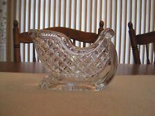 CLEAR GLASS CRYSTAL SANTA SLEIGH CHRISTMAS CANDY DISH -- HEAVY